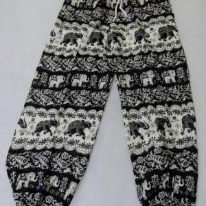 מכנסי שרוואל פילים שחור לבן