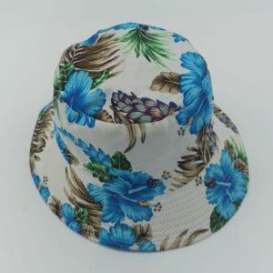 כובע טמבל פרחים כחול לבן
