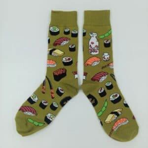 גרביים בדוגמא של סושי ירוק