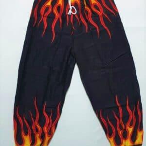 מכנסי שרוואל להבות אש אדום צהוב