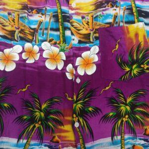 חולצת הוואי פרחים רקע סגול
