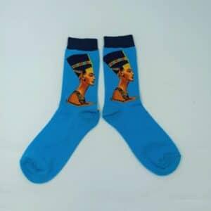 גרביים מעוצבות נפרטיטי בצבע תכלת